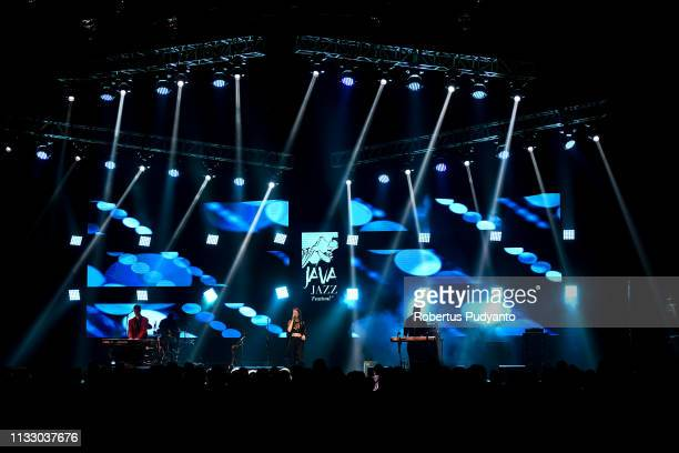 Amber Navran of Moonchild performs on the day one of the Java Jazz Festival 2019 at Jakarta International Expo Kemayoran on March 01 2019 in Jakarta...