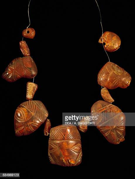Amber necklace from the sanctuary of the goddess Mephitis at Rocca San Felice Campania Italy Samnite civilisation 5th century BC Avellino Museo Irpino