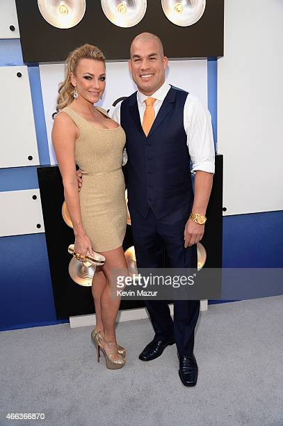 Amber Nichole Miller and mixed martial artist Tito Ortiz attend The Comedy Central Roast of Justin Bieber at Sony Pictures Studios on March 14 2015...