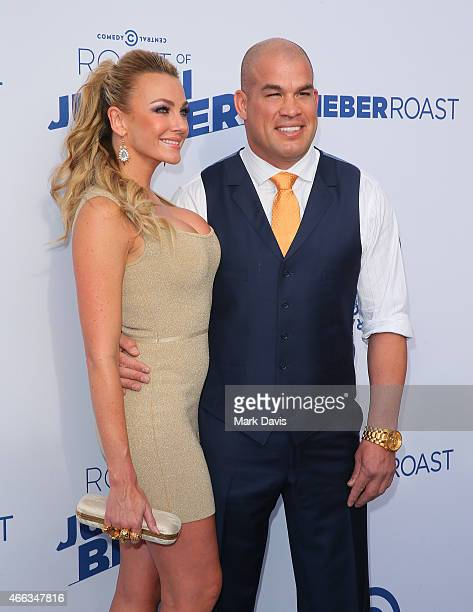 Amber Nichole Miller and Tito Ortiz attend The Comedy Central Roast of Justin Bieber at Sony Pictures Studios on March 14 2015 in Los Angeles...