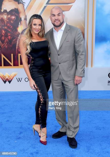Amber Nichole Miller and Tito Ortiz attend the World Premiere of Warner Bros Pictures' 'Wonder Woman' at the Pantages Theatre on May 25 2017 in...