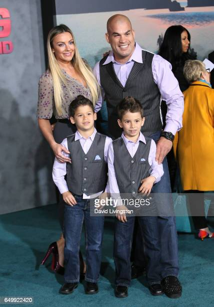 Amber Nichole Miller and Tito Ortiz with family attend the premiere of Warner Bros Pictures' 'Kong Skull Island' at Dolby Theatre on March 8 2017 in...