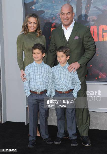 Amber Nichole Miller Jesse Jameson Ortiz Journey Jette Ortiz Tito Ortiz arrive for the Premiere Of Warner Bros Pictures' 'Rampage' held at Microsoft...