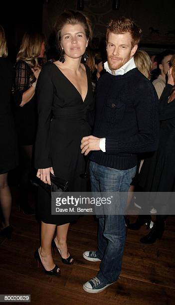Amber Nuttall and Tom Aikens attend the launch party of the Dom Perignon OEnotheque 1995 hosted by Dom Perignon and Claudia Schiffer at The Landau in...