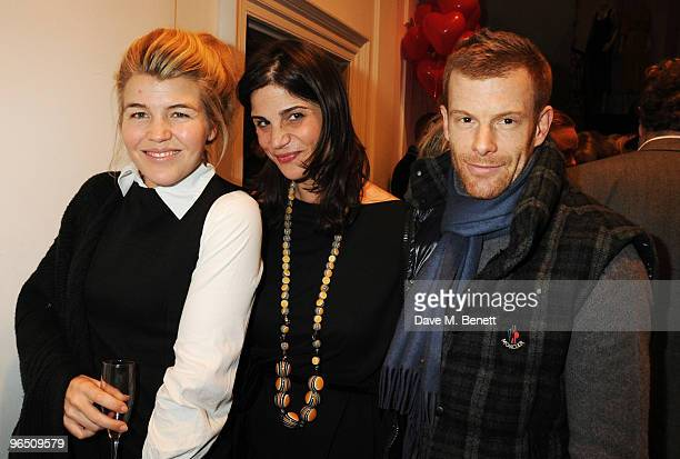 Amber Nuttall Katrina Pavlos and Tom Aikens attend the afterparty following the screening of 'Food Inc' at the Stella McCartney Store on February 8...