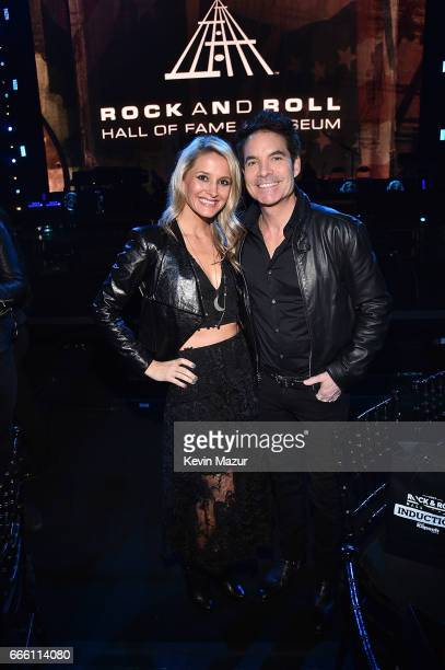 Amber Peterson and Patrick Monahan attend 32nd Annual Rock Roll Hall Of Fame Induction Ceremony at Barclays Center on April 7 2017 in New York City...