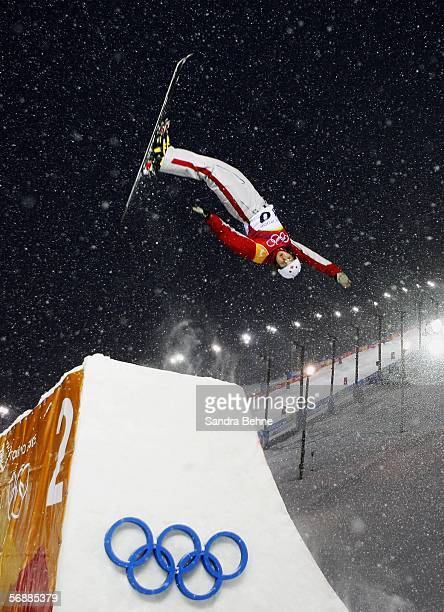 Amber Peterson of Canada practices before the Womens Freestyle Skiing Aerials Practice on Day 9 of the 2006 Turin Winter Olympic Games on February 19...