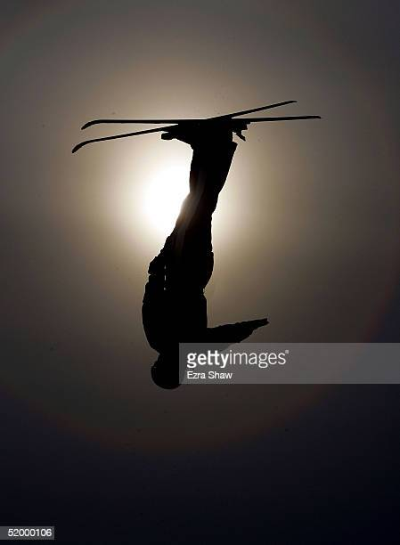 Amber Peterson of Canada who finished in 22nd place competes during the Nature Valley Freestyle World Cup aerial competition on January 16 2005 at...