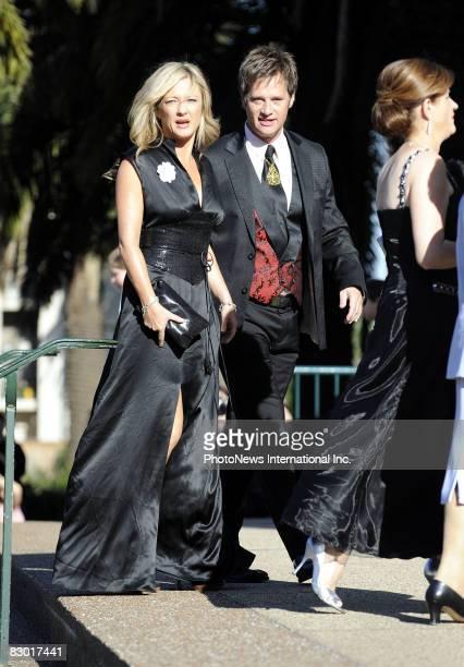 Amber Petty and Richard Reid arrive for the wedding of 2Day FM radio presenter Kyle Sandilands and aspiring pop star Tamara Jaber at St Brigids...