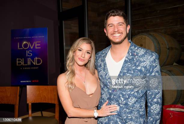 Amber Pike and Matt Barnett attends Netflix's Love is Blind VIP viewing party at City Winery on February 27 2020 in Atlanta Georgia