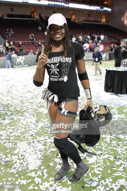 Amber Reed during the Lingerie Football League's Lingerie Bowl IX Los Angeles won 28-6 at Orleans Arena on February 5, 2012 in Las Vegas, Nevada.