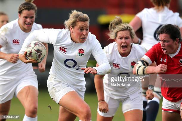 Amber Reed of England makes a break during the Women's International Test match between Canada and the England Roses at Rugby Park on June 13 2017 in...