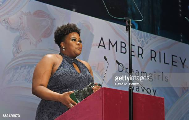 Amber Riley accepts the Best Musical Performance award at the London Evening Standard Theatre Awards 2017 at the Theatre Royal Drury Lane on December...