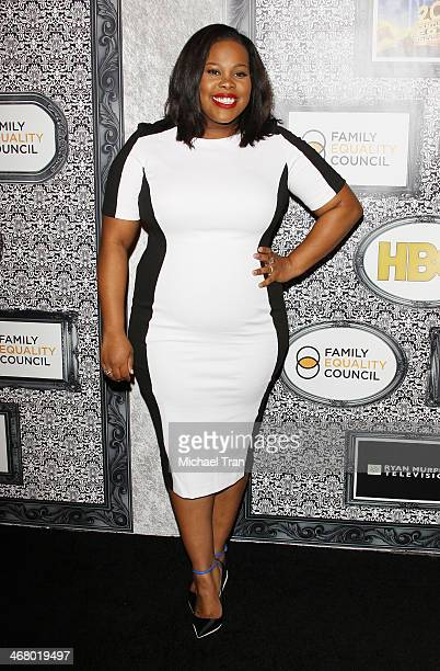 Amber Riley arrives at the Family Equality Council's Los Angeles Awards dinner held at The Globe Theatre on February 8 2014 in Universal City...