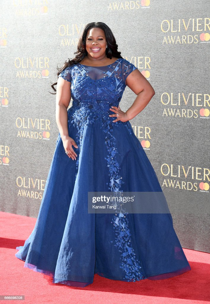 Amber Riley arrives for The Olivier Awards 2017 at the Royal Albert Hall on April 9, 2017 in London, England.