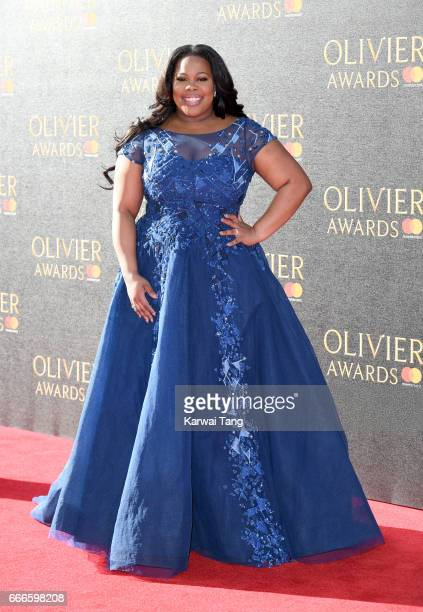 Amber Riley arrives for The Olivier Awards 2017 at the Royal Albert Hall on April 9 2017 in London England