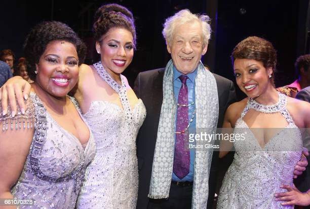 Amber Riley as Effie White Liisi LaFontaine as Deena Jones Sir Ian McKellen and Asmeret Ghebremichael as Lorell Robinson pose backstage at the hit...