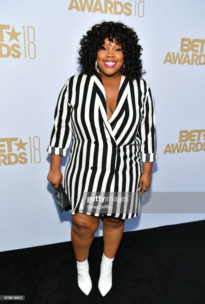 Amber Riley attends the Debra Lee Pre-BET Awards Dinner at Vibiana on June 20, 2018 in Los Angeles, California.
