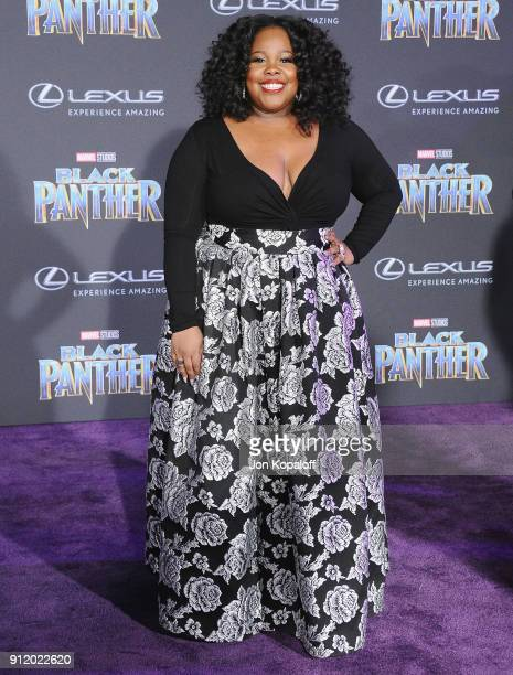 Amber Riley attends the Los Angeles Premiere Black Panther at Dolby Theatre on January 29 2018 in Hollywood California