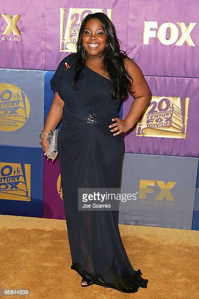 Amber Riley from Glee arrives at FOX Hosts 2010 Golden Globe Nominees Party at Craft on January 17 2010 in Century City California