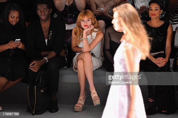 Amber Riley J Alexander Bella Thorne and Rochelle Aytes attend the Tadashi Shoji Spring 2014 fashion show during MercedesBenz Fashion Week at The...