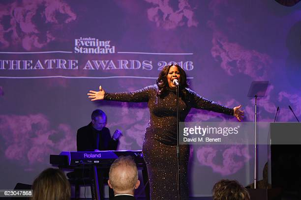 Amber Riley performs at the 62nd London Evening Standard Theatre Awards recognising excellence from across the world of theatre and beyond at The Old...