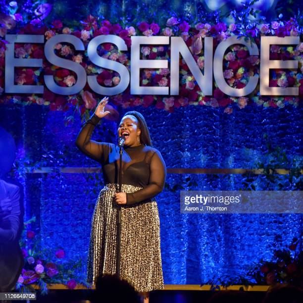 Amber Riley performs onstage during the 2019 Essence Black Women in Hollywood Awards Luncheon at Regent Beverly Wilshire Hotel on February 21 2019 in...