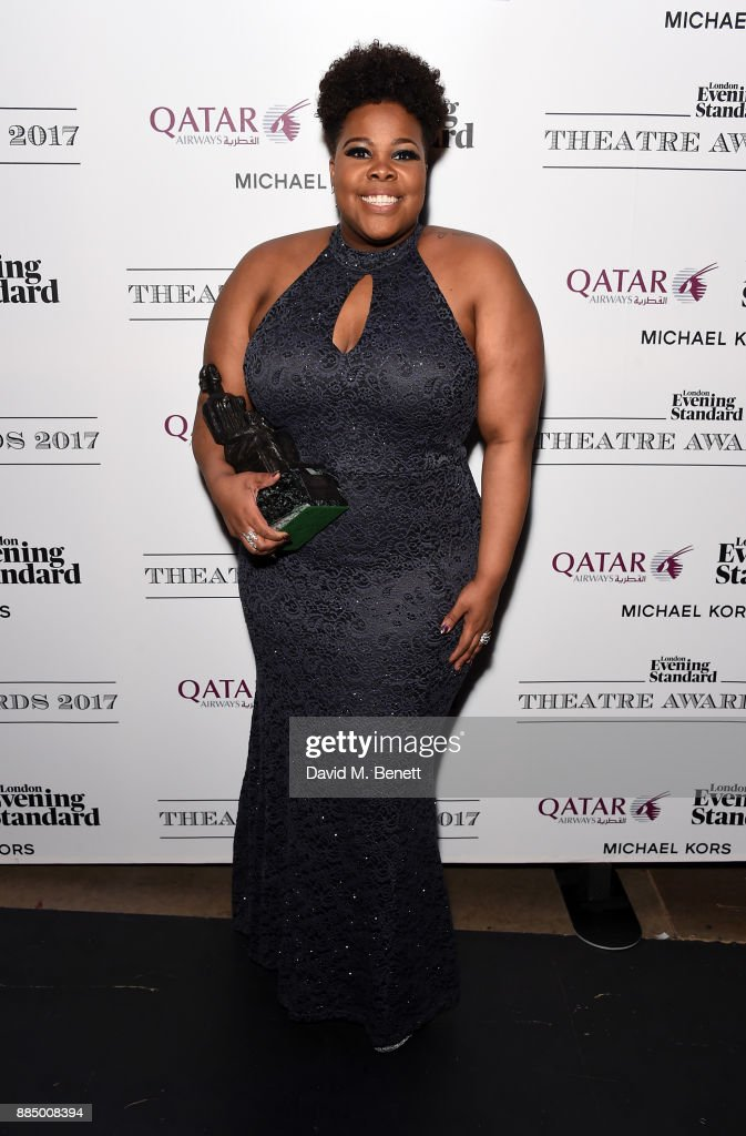 Amber Riley poses at the London Evening Standard Theatre Awards 2017 at the Theatre Royal, Drury Lane, on December 3, 2017 in London, England.