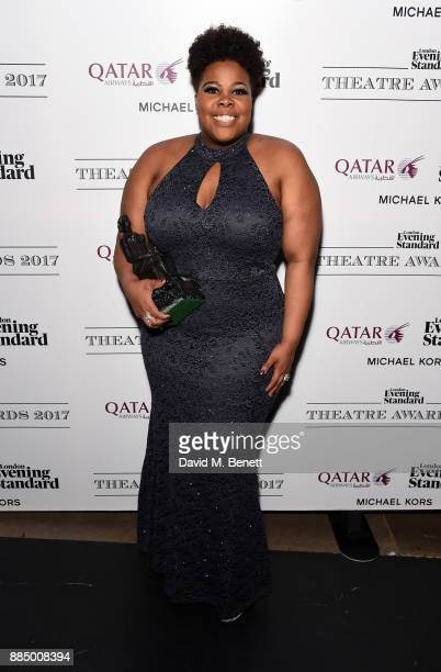 Amber Riley poses at the London Evening Standard Theatre Awards 2017 at the Theatre Royal Drury Lane on December 3 2017 in London England