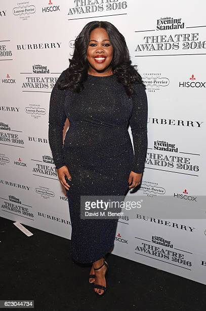 Amber Riley poses in front of the winners boards at The 62nd London Evening Standard Theatre Awards recognising excellence from across the world of...