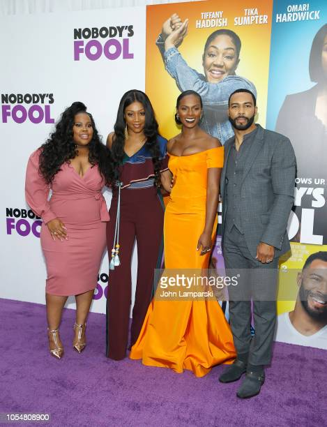 Amber Riley Tiffany HaddishTika Sumpter and Omari Hardwick attend Nobody's Fool New York Premiere at AMC Lincoln Square Theater on October 28 2018 in...