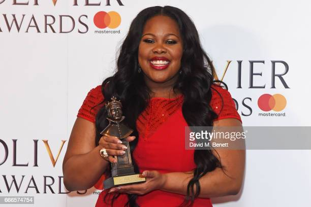Amber Riley winner of the Best Actress In A Musical award for 'Dreamgirls' poses in the winners room at The Olivier Awards 2017 at Royal Albert Hall...