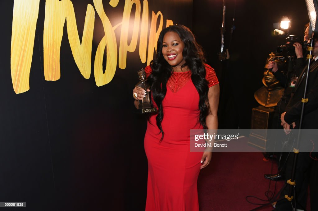 Amber Riley, winner of the Best Actress In A Musical award for 'Dreamgirls', poses in the winners room at The Olivier Awards 2017 at Royal Albert Hall on April 9, 2017 in London, England.