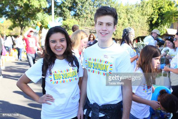 Amber Romero and Lofton Shaw at Big Sunday's 6th Annual BIG Thanksgiving Stuffing Event at Big Sunday Headquarters on November 22 2017 in Los Angeles...