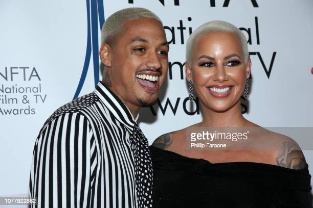 Amber Rose and AE attend the National Film and Television Awards Ceremony at Globe Theatre on December 05 2018 in Los Angeles California