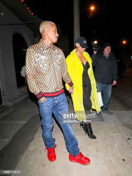 Amber Rose and Alexander 'AE' Edwards are seen on December 04 2018 in Los Angeles California