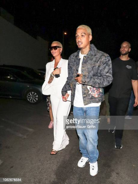 Amber Rose and Alexander 'AE' Edwards are seen on October 21 2018 in Los Angeles California