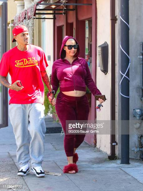 Amber Rose and Alexzander 'AE' Edwards are seen on October 01 2019 in Los Angeles California