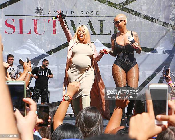Amber Rose and Blac Chyna are seen at SlutWalk Festival in LA on October 01 2016 in Los Angeles California