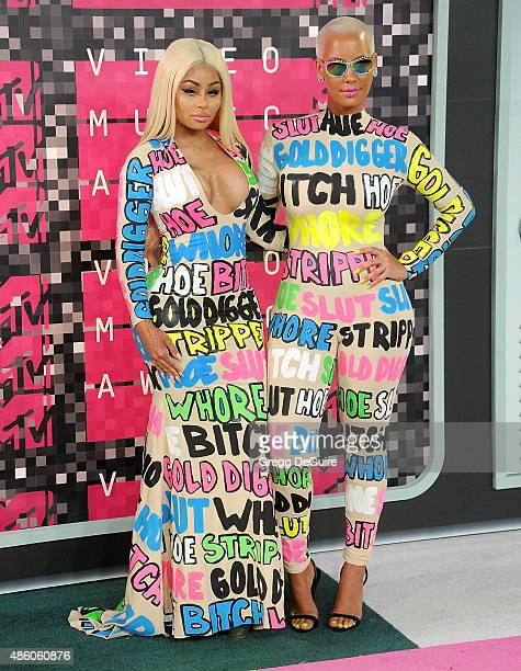 Amber Rose and Blac Chyna arrive at the 2015 MTV Video Music Awards at Microsoft Theater on August 30 2015 in Los Angeles California