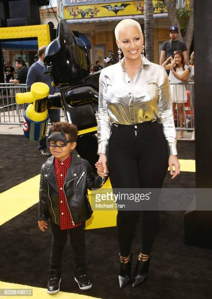 Amber Rose and her son Sebastian arrive at the Los Angeles premiere of Warner Bros Pictures' 'The LEGO Batman Movie' held at Regency Village Theatre...