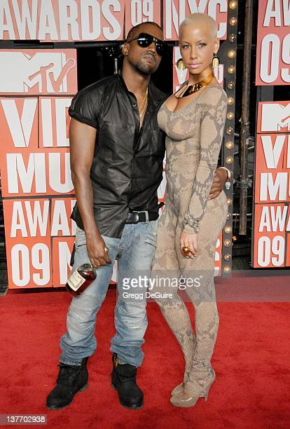 Amber Rose and Kanye West arrive for the MTV Video Music Awards at Radio City Music Hall on September 13 2009 in New York City