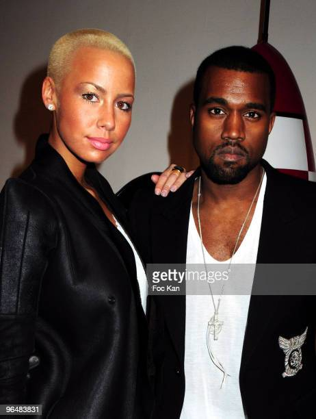 Amber Rose and Kanye West attend the 'Hi Panda' Jiji's Sculptures Preview Cocktail Hosted by Antoine Arnault at the Palais De Tokyo on January 26...