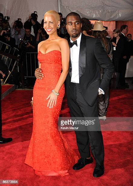 Amber Rose and Kanye West attends The Model as Muse Embodying Fashion Costume Institute Gala at The Metropolitan Museum of Art on May 4 2009 in New...