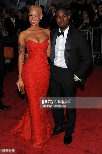 Amber Rose and musician Kanye West attend The Model as Muse Embodying Fashion Costume Institute Gala at The Metropolitan Museum of Art on May 4 2009...