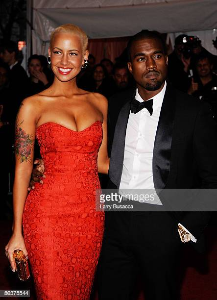 Amber Rose and rapper Kanye West attend The Model as Muse Embodying Fashion Costume Institute Gala at The Metropolitan Museum of Art on May 4 2009 in...