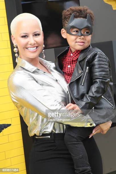 Amber Rose and Sebastian Taylor Thomaz attend the Premiere of Warner Bros Pictures' 'The LEGO Batman Movie' at the Regency Village Theatre on...