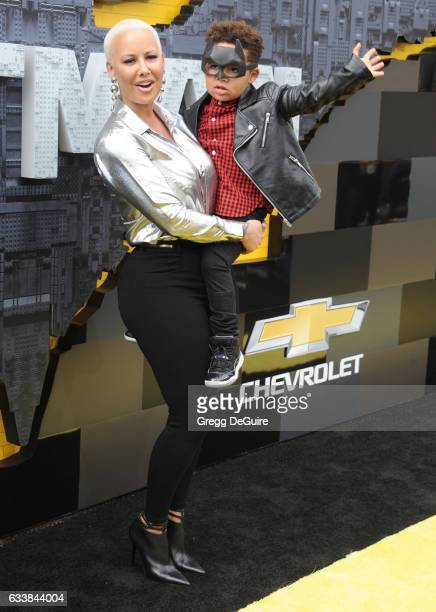Amber Rose and son Sebastian Taylor Thomaz arrive at the premiere of Warner Bros Pictures' 'The LEGO Batman Movie' at Regency Village Theatre on...
