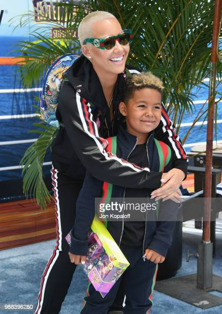 Amber Rose and son Sebastian Taylor Thomaz attend Columbia Pictures And Sony Pictures Animation's World Premiere Of 'Hotel Transylvania 3 Summer...