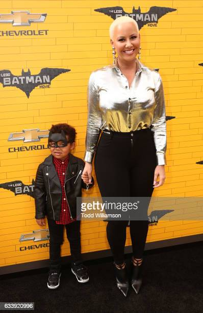 Amber Rose and son Sebastian Taylor Thomaz attend the premiere Of Warner Bros Pictures' 'The LEGO Batman Movie' at Regency Village Theatre on...